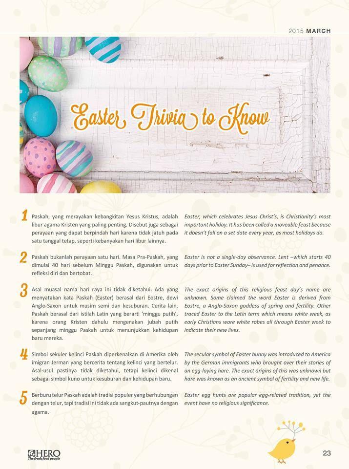 Paskah adalah salah satu perayaan yang sebentar lagi tiba. Banyak fakta menarik di balik perayaan tersebut  Ingin tahu apa saja hal menarik saat Easter? simak 'Easter Trivia to Know' berikut ini #HeroEaster