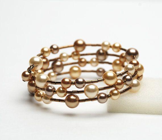 Large Wrist Memory Wire Bracelet Gold Swarovski Pearl Plus Size Handmade