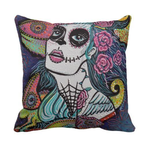 Chameleon Sugar Skull Art Throw Pillow