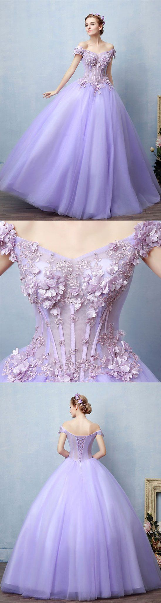 Light Purple Tulle Lace Long Prom Dress Sweet 16 Dress Trendty Sweet 16 Dresses Prom Dresses Ball Gown Dresses [ 2046 x 549 Pixel ]