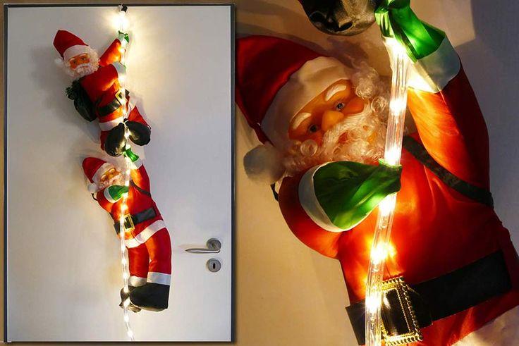 #Weihnachten #Deko #Idee   Zwei #Figuren #Weihnachtsmann an einem Lichtschlauch hängend.  Wunderbare #Deko mit unzähligen Möglichkeiten zur weihnachtlichen Gestaltung, z.B. hängend an einer Außenwand oder für Indoor. Hier sind der Kreativität keine Grenzen gesetzt.  Der Lichtschlauch mit 48 LED warmweiß hat eine 1,5 m lange Zuleitung mit IP44-Adapter für den Außenbereich