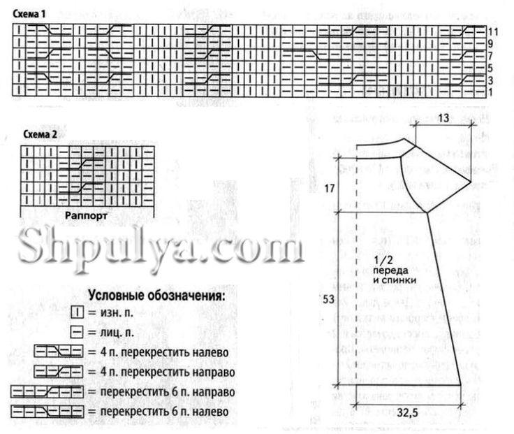 Узорчатая туника с карманами, вязаная спицами