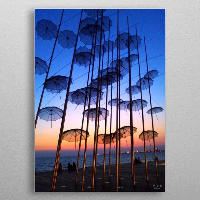 Sales! Use code: ALLSTAR Buy 3-4 get 15% OFF | 5+ 20% OFF.  Floating Umbrellas metal poster by Scar Design. #sunset #modern #sculpture  #umbrellas #posters #art #family #homedecor #online #shopping #sales #discount #save #homedecorideas #gifts #displate #giftsforhim #giftsforher #home #homegifts #photography #travel #greece #giftideas #cool #campus #dorm #thessaloniki #scardesign #photo #awesome