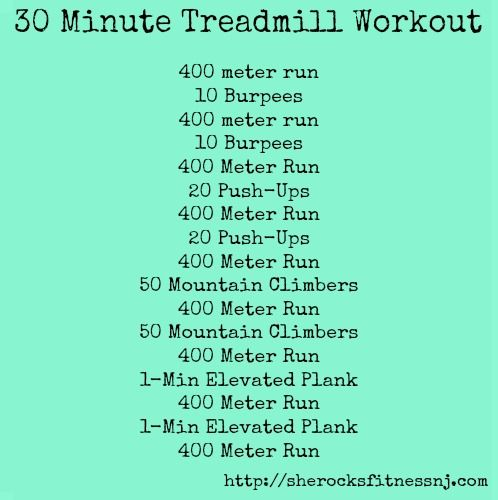 She Rocks Fitness treadmill workout~ Total Time: 30 minutes (depending on how fast you go, it could vary between 25-30 minutes) No equipment needed! If you have a treadmill great, if not, you can do it outside in these lovely Spring temperatures! No rest in between runs! Yes you heard me correctly…just do it.