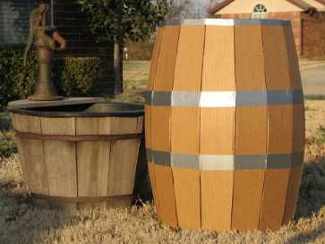 """wooden"" barrel. Maybe we need these outside."