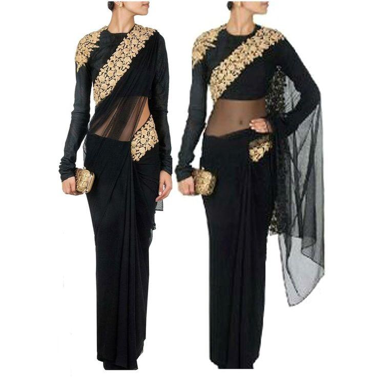 Net Sequins Work Black Designer Saree - 3001