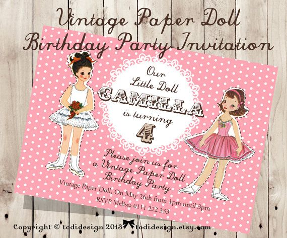 232 best Doll Party images – Doll Party Invitations
