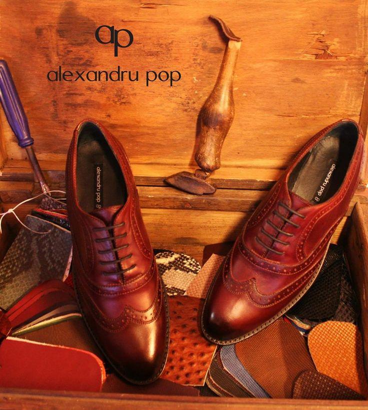 Oxford Shoes Burgundy Patina Crast Leather by Alexandru Pop