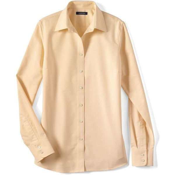 Women's Oxford Shirt from Lands' End ❤ liked on Polyvore featuring tops, beige top, lands end tops, oxford shirt and lands' end