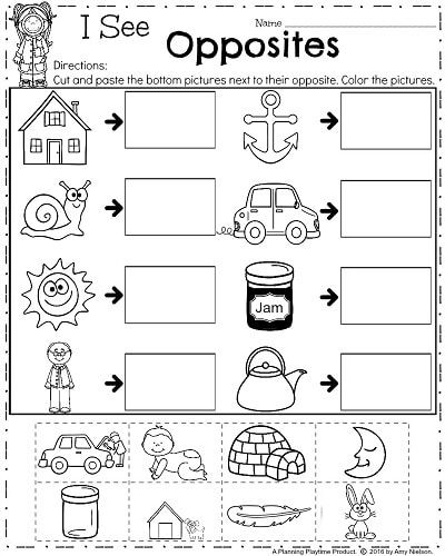 Opposite Worksheets Cut And Paste on for kids, fall color, farm animals, body parts, shape matching,