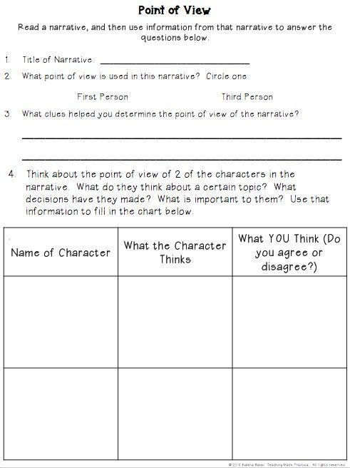 Point of View Fiction Graphic Organizer: Use with almost any narrative.  Asks students to decide what point of view the narrative is written from, and whether they agree or disagree with the character's point of view.