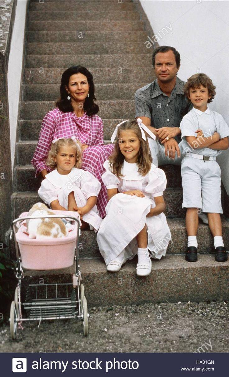 QUEEN SILVIA OF SWEDEN CARL XVI GUSTAF OF SWEDEN PRINCESS MADELEINE PRINCESS VICTORIA & PRINCE CARL PHILIP SWEDISH ROYAL FAMI Stock Photo