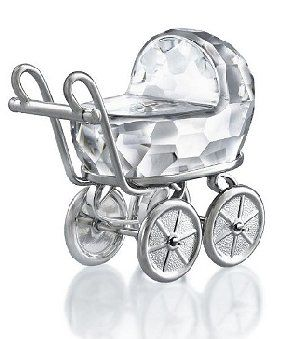 Swarovski Baby Carriage/Pram Rhodium and Crystal.  Swarovski Crystal Figurine.
