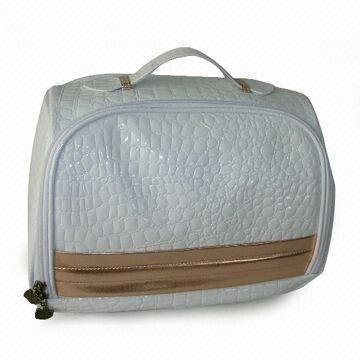 White Colour Shiny PVC Cosmetic Bag with Gold Stripes