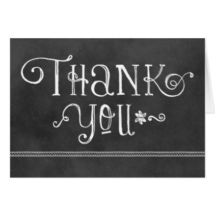 Thank You   Black Chalkboard Card - black and white gifts unique special b&w style