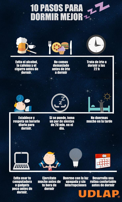 Debido a que te encuentras en una etapa de formación educativa para tu vida profesional, es de suma importancia que adquieras hábitos de sueño que te permitan dar todo tu rendimiento en tu trabajo y estudio; por ello, te hemos preparado algunos consejos: http://blog.udlap.mx/blog/2015/02/10pasosparadormirmejor/