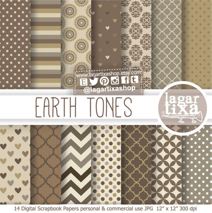 Earth Tones Neutral Beige Chocolate Brown Digital Paper Background Chevron dots Damask stripes patterns Scrapbook Blog invitations cards LagartixaShop 4.00 USD
