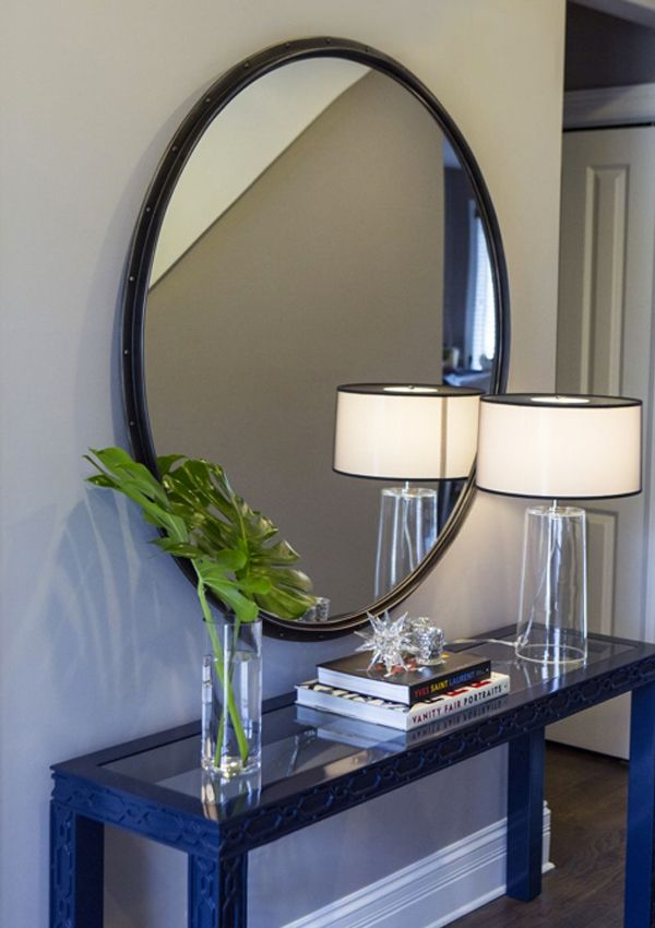 Alexandra Kaehler Design Entry With Large Round Mirror And Navy Lacquer Console Mirror Dining