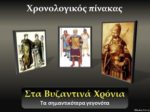 Χρονολογικός πίνακας - Βυζαντινή αυτοκρατορία