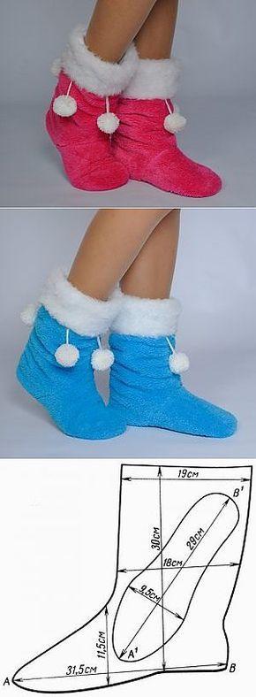 Шьем домашнюю теплую обувку.