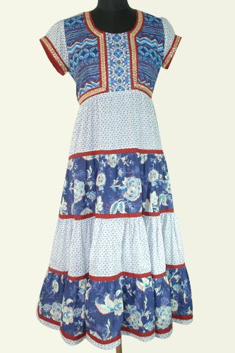Printed Layered Long Kurti, Embroidery lace on front yoke and sleeves, Very long kurti or dress.