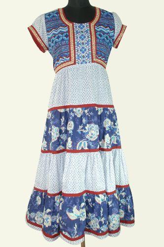 Printed Layered Long Kurti, Embroidery lace on front yoke and sleeves, Very long kurti or dress.