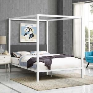 MODWAY Raina White Gray Queen Canopy Bed Frame-MOD-5570-WHI-GRY - The Home Depot