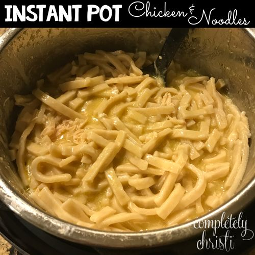 Instant Pot Chicken & Noodle Recipe  With Ultra:  Pressure Cook  2 very large frozen chicken breasts 13 minutes.  Add in frozen Reames Noodles.  Pressure Cook 9 minutes more.