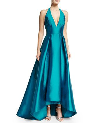 Halter-Neck+High-Low+Gown,+Peacock+by+Badgley+Mischka+at+Neiman+Marcus.
