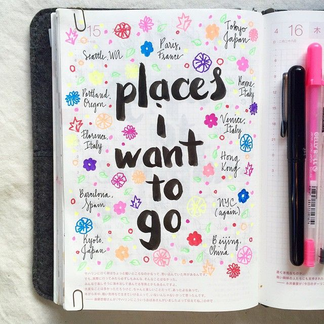 Day 15 of the #listersgottalist challenge: places I want to go ☺️ #roterfaden #hobonichi #lists #journal #journaling #artjournal #artjournaling #mtn #midori #midoritravelersnotebook #travelersnotebook...