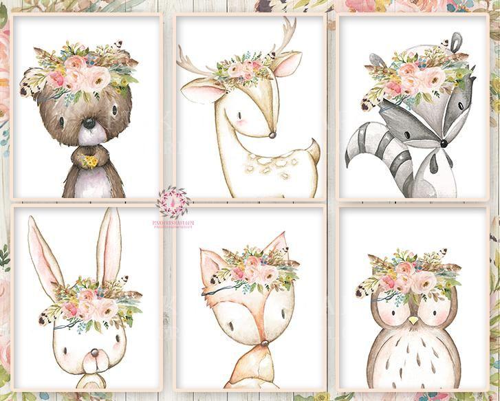 Boho Bunny Bear Deer Fox Nursery Wall Art Woodland Prints Bohemian Floral Baby Room Blush Feathers Raccoon Owl Home Decor Print Set Of 6