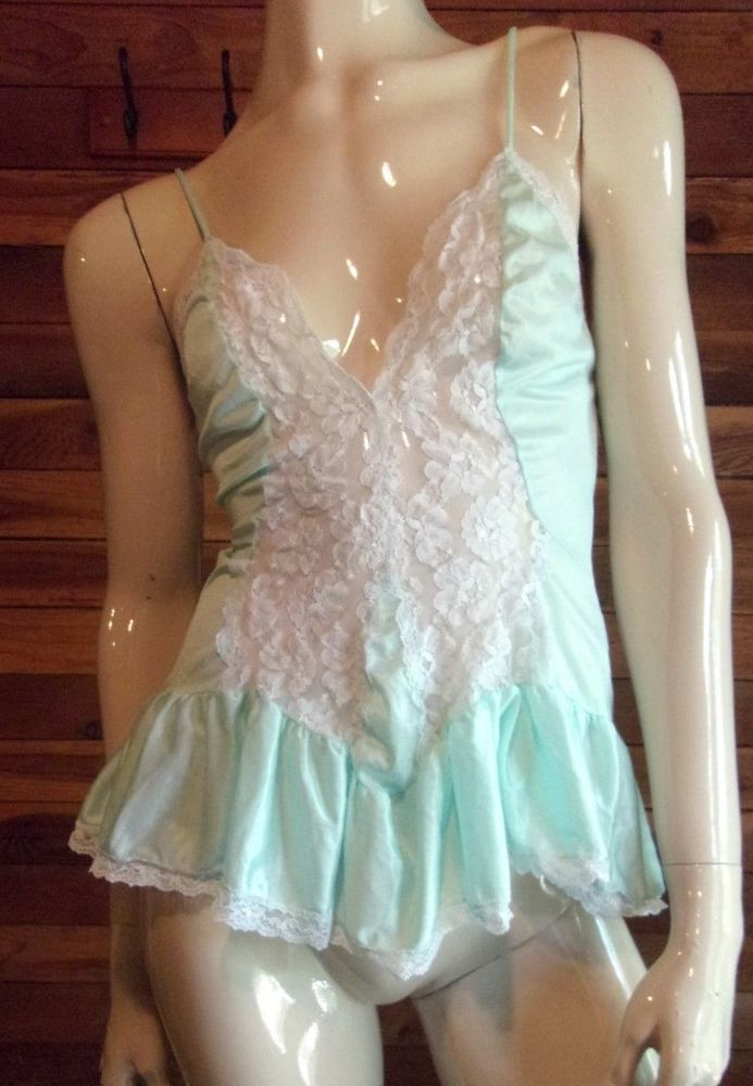 VINTAGE VAL MODE AQUA SIZE SMALL BABYDOLL NIGHTGOWN #VALMODE