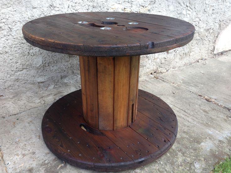 Stůl z cívky na kabely - lazura Xyladecor borovice / Heating coils of cable - Stain Pine Xyladecor