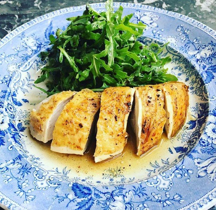 Roast organic chicken with rocket salad