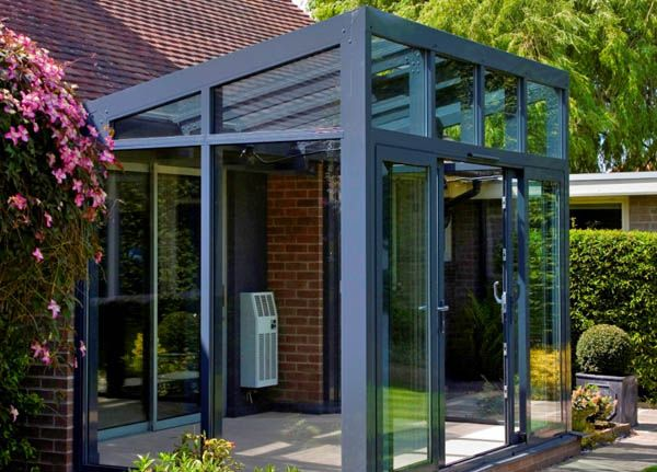 reverse lean to conservatory design