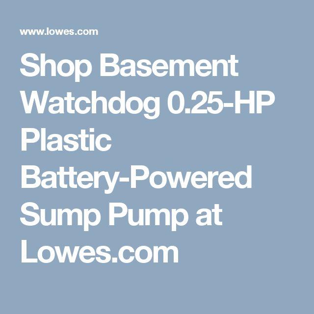Shop Basement Watchdog 0.25-HP Plastic Battery-Powered Sump Pump at Lowes.com
