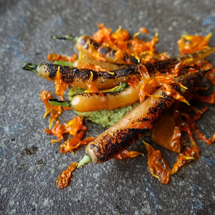 O.MY RESTAURANT Semi Charred Carrots, Coffee Carrot Sauce, Brandied Cumquat