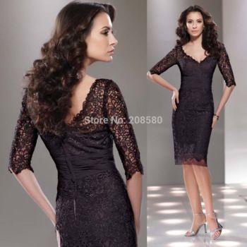 Sheath Short Black Mother of the Bride Lace Dresses Gown Half Sleeve Knee Length 2015 Handmade Vestido Mae da Noiva M2165