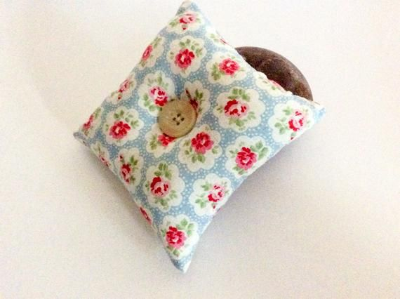 Handcrafted with Cath Kidston Mini Dot Blue Fabric Heart Pin Cushion