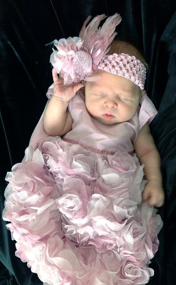Fancy Shabby Chic Pink Flower Special Occasion Baby Summer Dress on Etsy, $60.00