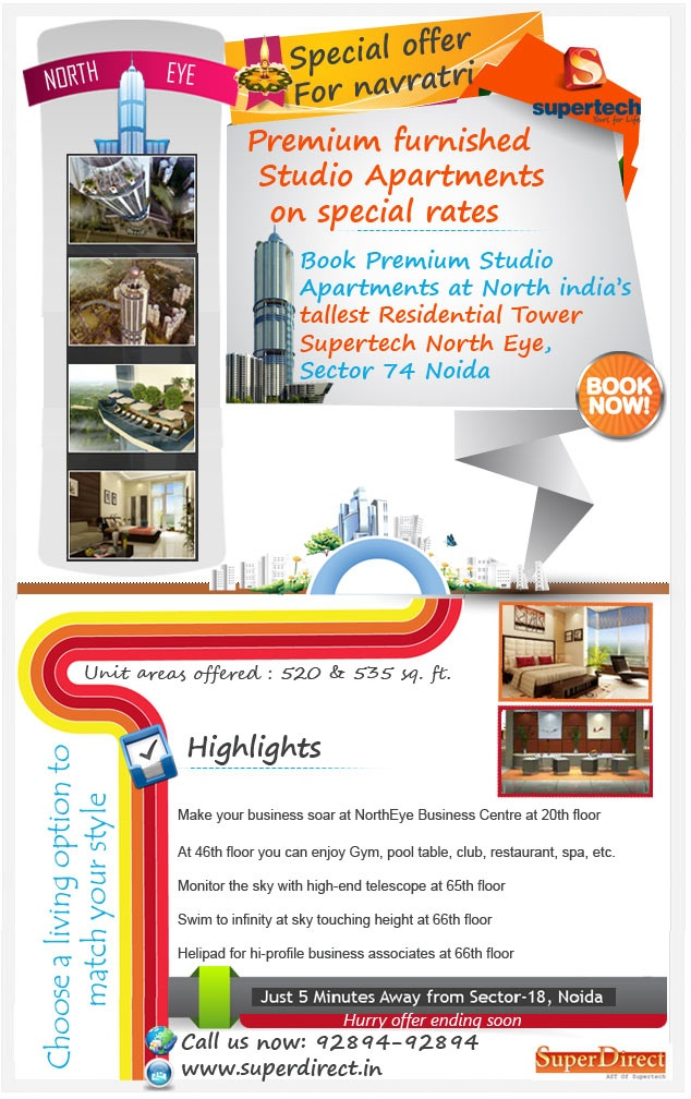 Supertech North Eye is situated at Sector 74 Noida, where world-class facilities is waiting for you.