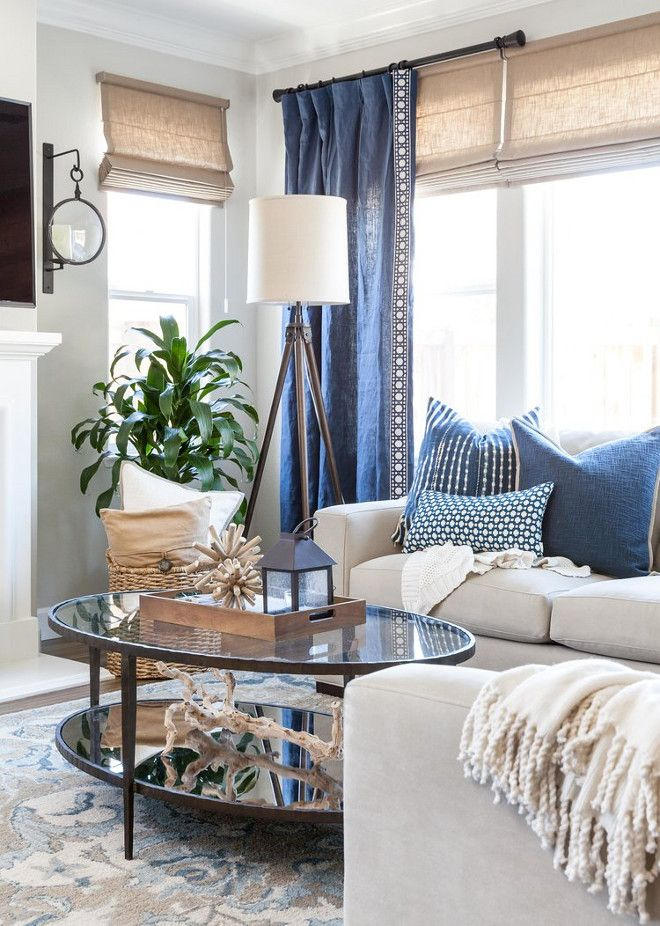 I Love The Navy Curtains Over The Burlap Blinds It Really Is A Beautiful Nautical Living Room