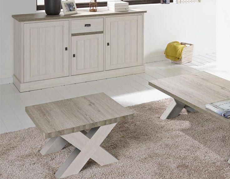 Table basse carrée contemporaine couleur chêne blanc JEANNE