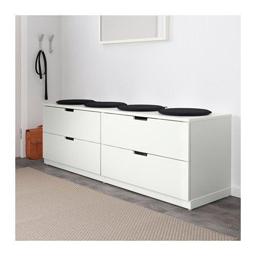 "NORDLI 4-drawer dresser  - IKEA Width: 63 "" Depth: 16 7/8 "" Depth of drawer: 15 3/8 "" Height: 20 1/2 """