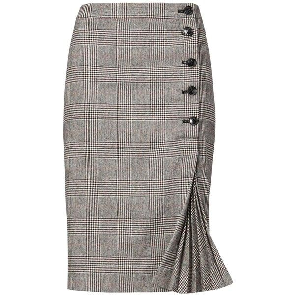 Plaid Side-Button Pencil Skirt ($98) ❤ liked on Polyvore featuring skirts, bottoms, saias, white skirt, white pencil skirt, white knee length skirt, knee length pencil skirt and pencil skirts