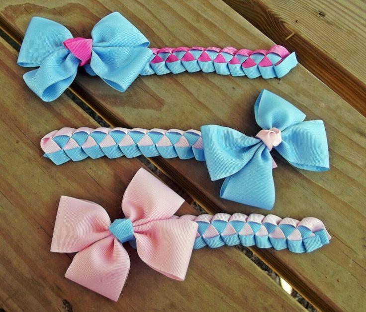 Pink n Baby Blue Bows w/ Bun Wraps