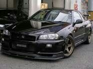 Fixed up r34 skiline all in mindnight black paint and volk racing bronze wheels