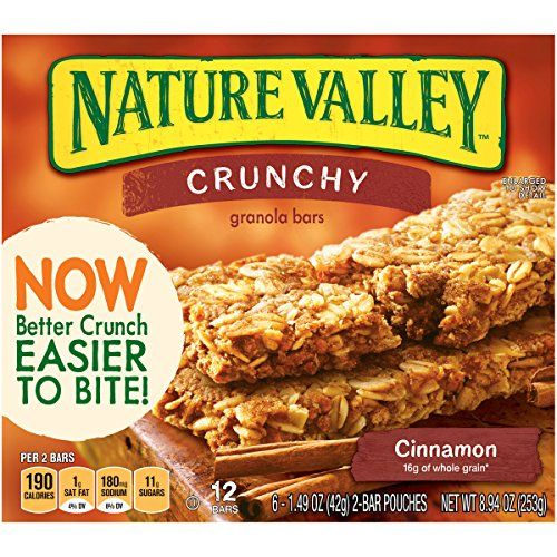 Nature Valley Crunchy Granola Bars, Cinnamon (*has small amount of soy flour, which should be tolerated by most)