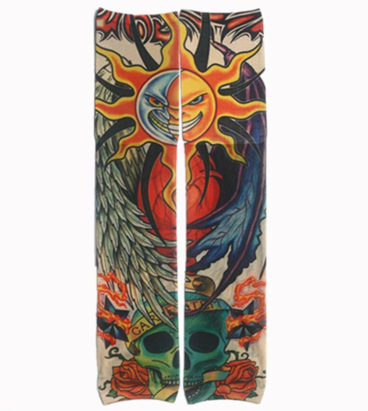 2 STÜCK, W18 Temporäre Fake Tattoo Kunst Hülse 100% Nylon elastischen Gefälschte temporäre tätowierung ärmel