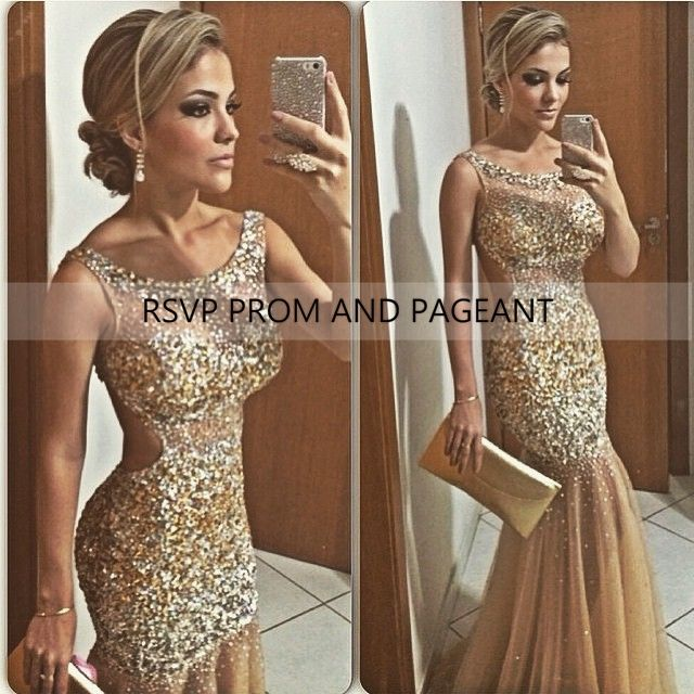 Find More Prom Dresses Information about New Champagne Mermaid Prom Dress Scalloped Sleeveless Beaded Floor Length Open Back Long Prom Dresses,High Quality dress me prom dresses,China dress clock Suppliers, Cheap dress up prom dress from Rsvp Prom and Pageant Trading Company on Aliexpress.com